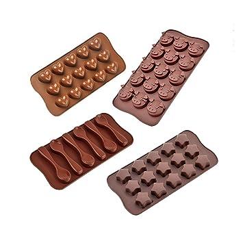 XDOBO para tartas decorar Chocolate de silicona moldes – Juego de 4 Chocolate moldes – mejor