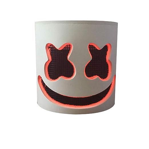 Puruitai Máscara de DJ LED, máscara de Marshmello Suave para niños y Adultos - Máscara de látex para Fiesta de Disfraces: Amazon.es: Hogar
