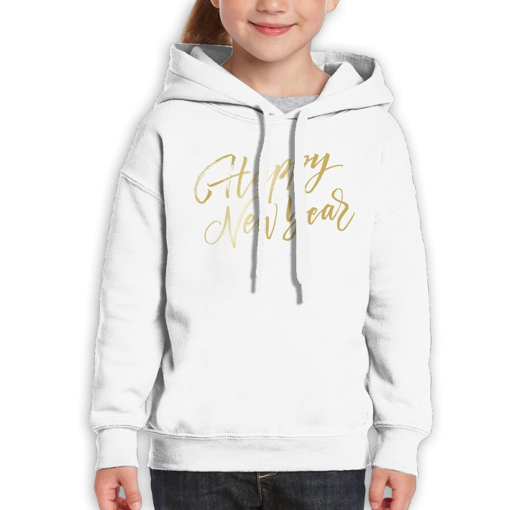 SmallHan Teen Girls Happy New Year In Golden Funny Travel White Fleeces L