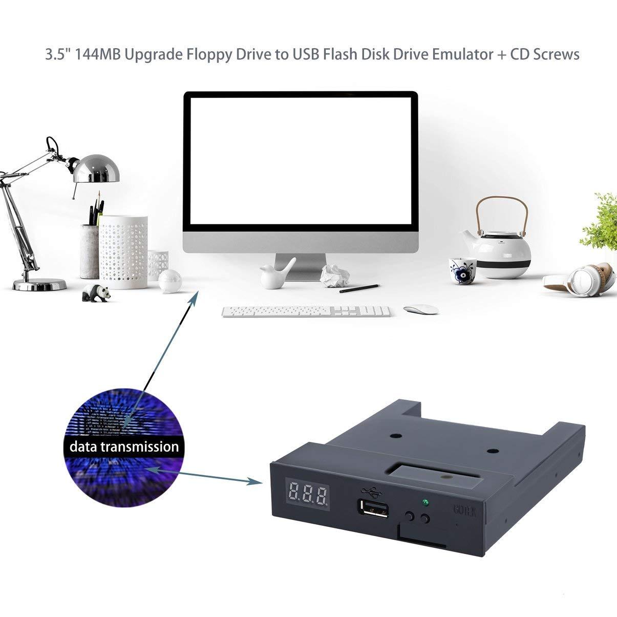 JullyeleESgant Negro SFR1M44-U100K 5V 3.5 1.44MB 1000 Unidad de Disquete a emulador USB Simulación Conector Simple para Teclado Musical: Amazon.es: ...