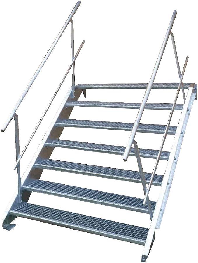 Escalera de acero industrial, escalera exterior, 7 peldaños, ancho 150 cm, altura de planta variable 100 – 140 cm, galvanizada con barandilla a ambos lados: Amazon.es: Bricolaje y herramientas