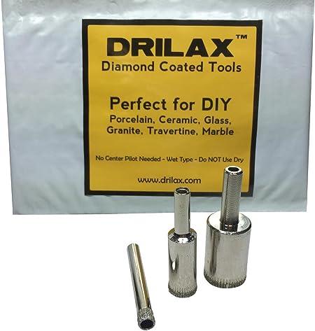 Granite Quartz 1-3//4 Lot 3 Diamond Coated Hole Saws- Kitchen Marble Bathroom Shower Drilax/™ 3 Pcs Diamond Drill Bit Set 1-1//2 Wet Drilling Tool Drilax033850 Holesaws Glass Porcelain Tiles Faucet Fish Tanks 2 for Ceramic