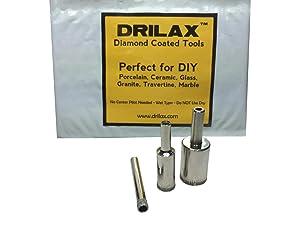 Drilax 3 Pieces Diamond Coated Hollow Core Drill Bit Set 1/4, 1/2, 3/4 Inch Drilling Tile Glass Fish Tank Granite Ceramic Porcelain Bottles Quartz Lot Kitchen Bathroom Shower Lamps