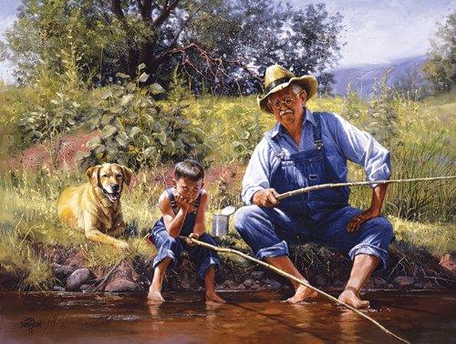 SunsOut Fishing with Grandpa 300 pc Jigsaw Puzzle
