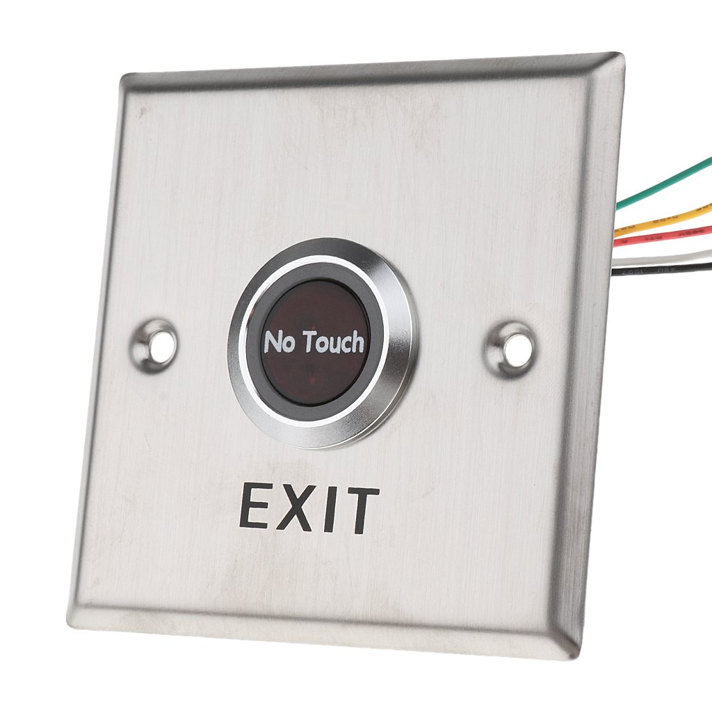Dovewill Stainless Steel Exit Switch, 12V No Touch Infrared Sensor Exit Button Door Release Switch for Access Control with LED Indicator ( Square Shape) #SNT86