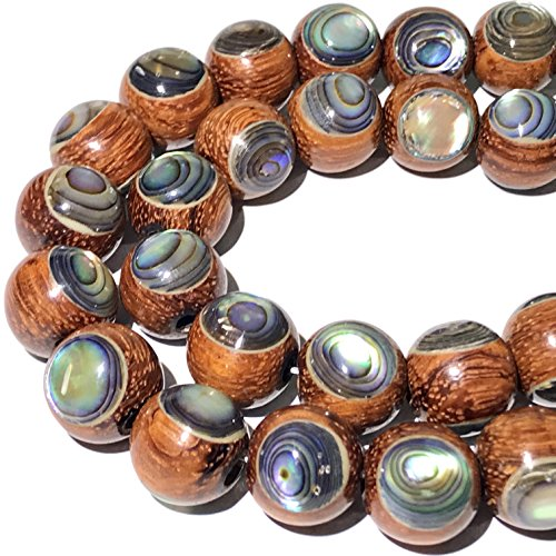 [ABCgems] Bayong Hardwood (New Zealand Abalone Front & Back Inlaid) 12mm Smooth Round (18-19 Focal Beads Wholesale Lot)