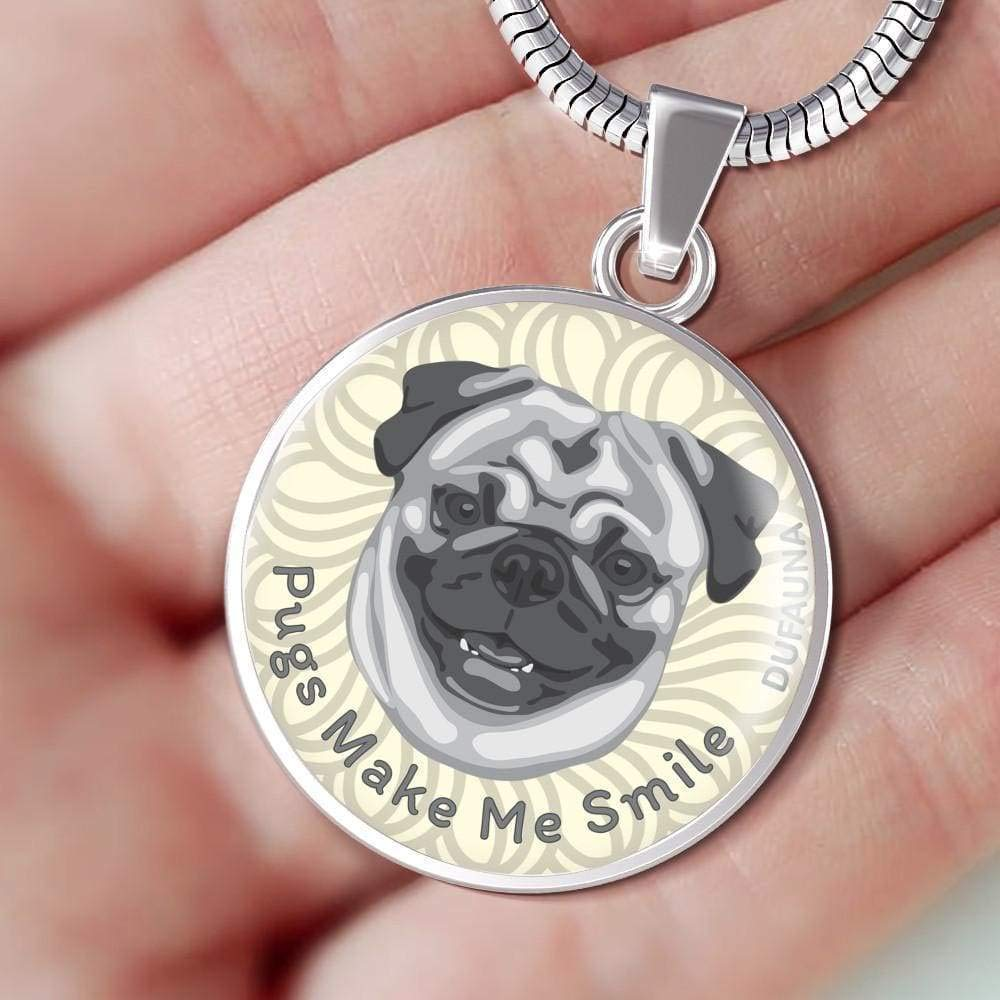 Steel or 18k Gold Finish 18-22 Many Colors DuFauna Grey//White Pugs Make Me Smile Necklace D19