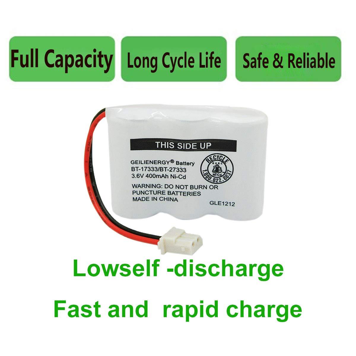 Geilienergy 3.6v 400mAh Battery Compatible with Vtech BT-17333 CS2111 01839 Sanyo CLT3500 GESPCH06 Radio 43-3215 2//3AA Cordless Phone 1 Pack BT-27333