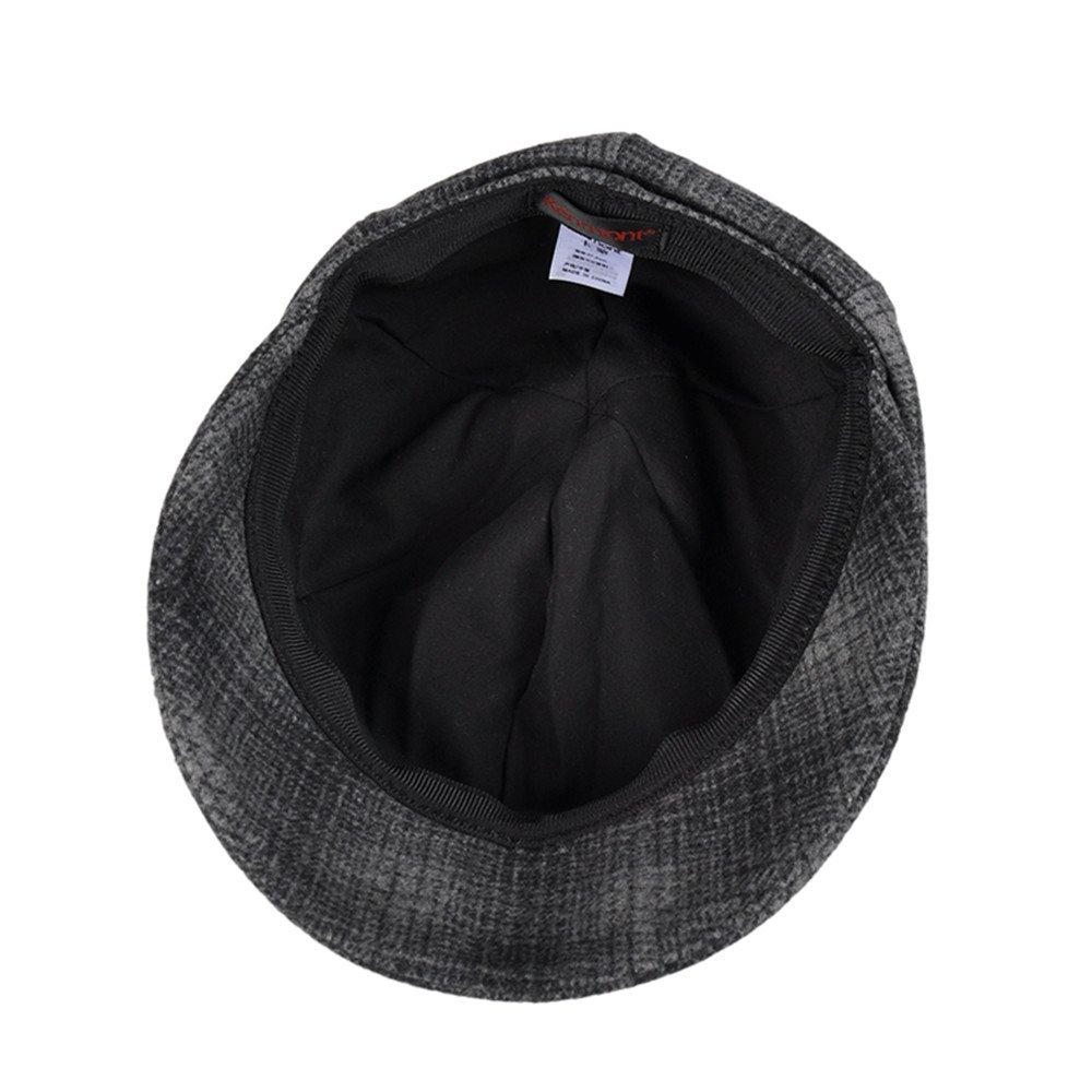 5e85b09a79f Kenmont Women s Beret Hat Elegant Grid Woolen Cloche Hat Short Brim Slouchy  Fedora Vintage Winter Hats (Grey Color) at Amazon Women s Clothing store