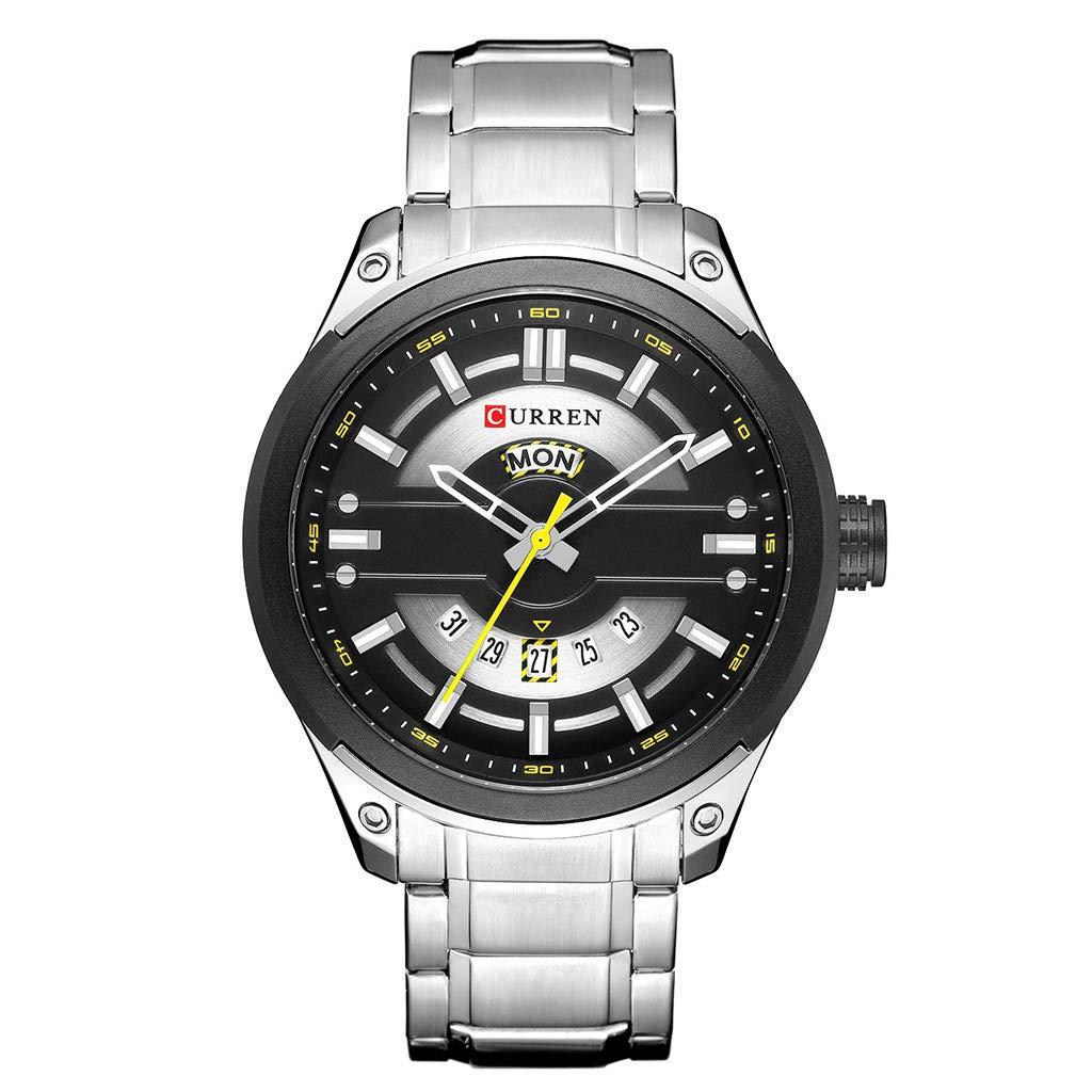 Guartz Watches for Men Digital Under 10 Dollars ❤ Waterproof Calendar Quartz Watch Round True Single Eye Men's Business Watch