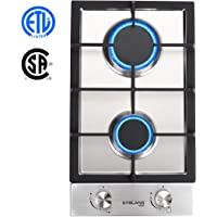 Gas Cooktop, Gasland chef GH30SF 12'' Built-in 2 Burner Gas Cooktops, Stainless Steel LPG Natural Gas Hob, 12 Inch Gas Stove Top with 2 Burners, ETL Safety Certified, Thermocouple Protection