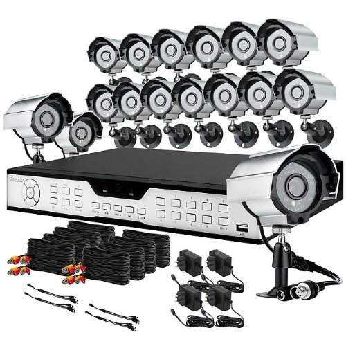 ZMODO 16 Channel H.264 DVR Home Security Surveillance Camera System with 16 Color CCD image sensor IR Outdoor Security Cameras-No HD