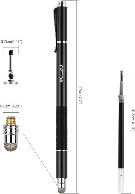 New Elzo 3 In 1 Capacitive Disc Stylus Gel Pen Combo 2 Pcs With 4 Replaceable..