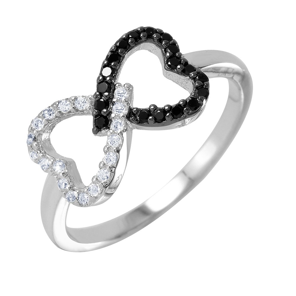 Princess Kylie Black and Clear Open Heart Bowtie Design Ring Rhodium Plated Sterling Silver