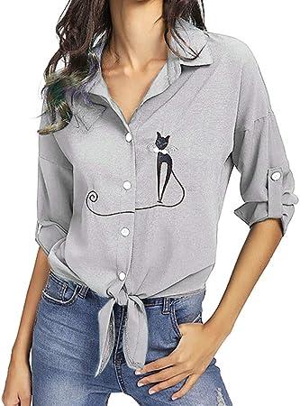 Winjin - Camiseta para mujer y niña, bordada, con lazo, dobladillo, camisa, manga larga, botones altos para mujer, moda y personalidad, deportes, ocio, turismo medium gris: Amazon.es: Hogar