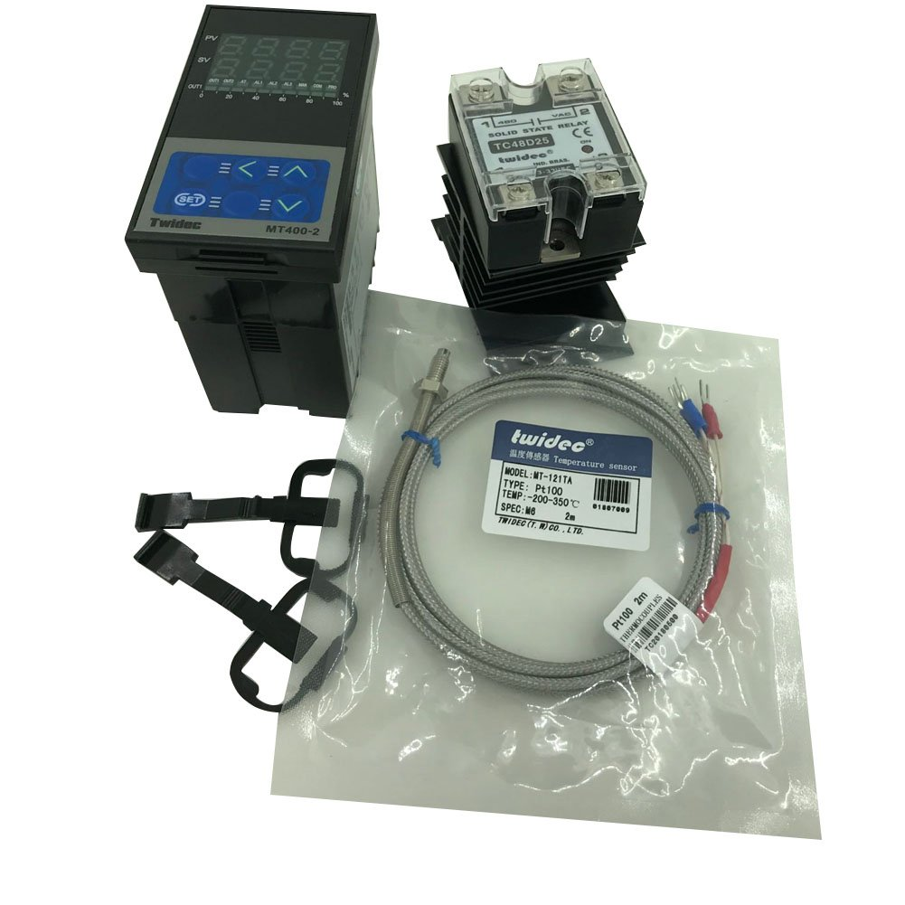 Twidec MT400-2 PID Temperature controller, 90-240VAC, 0-400 °C, Input: PT100, Output: SSR(DC12V);PT100 screw probe, probe lead length 2M(78.74 inches);TC48D25 SSR 25A;Black heat sink