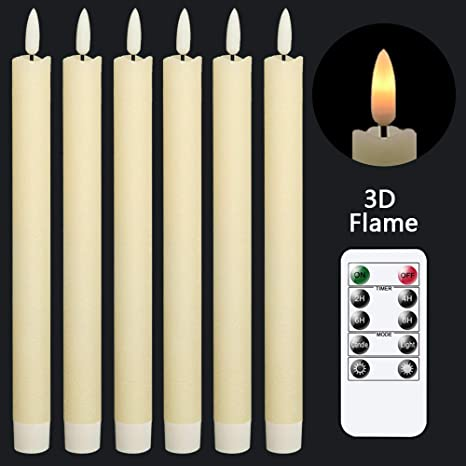 Amazon Com Genswin Flameless Ivory Taper Candles Flickering With 10 Key Remote Battery Operated Led Warm 3d Wick Light Window Candles Real Wax Pack Of 6 Christmas Home Wedding Decor 0 78 X 9 64 Inch Home