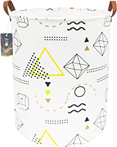 """HKEC 19.7""""Waterproof Foldable Storage Bin, Dirty Clothes Laundry Basket, Canvas Organizer Basket for Laundry Hamper, Toy Bins, Gift Baskets, Bedroom, Clothes, Baby Hamper (Geometric Patterns)"""