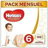 Huggies - Ultra Comfort - Couches Bébé Unisexe - Taille 6 (15-30 kg) x102 Couches - Pack 1 Mois de