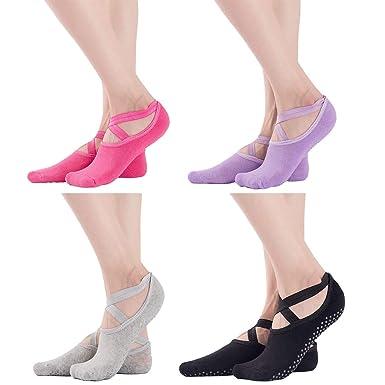 ZOYLINK 4 Pares Calcetines De Yoga Para Mujer Calcetines De ...