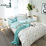 ORoa 3 Piece Duvet Cover and Pillow Shams Bedding Set Queen Full for Girls Teens Woman, Floral Bedding Collections Blue White