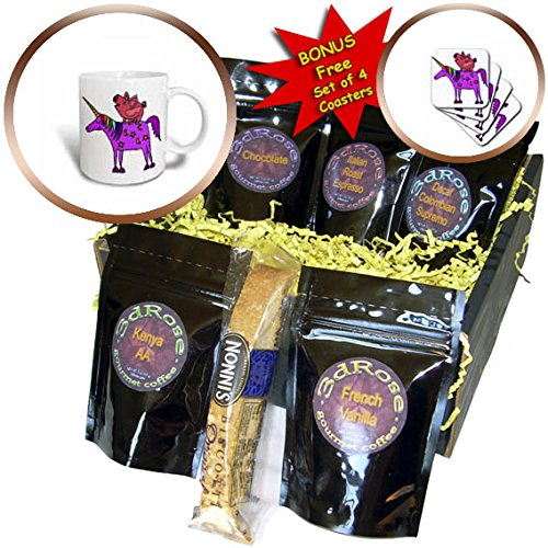 3dRose All Smiles Art Animals - Funny Cool Flying Pig Riding Unicorn Cartoon - Coffee Gift Baskets - Coffee Gift Basket (cgb_281454_1)
