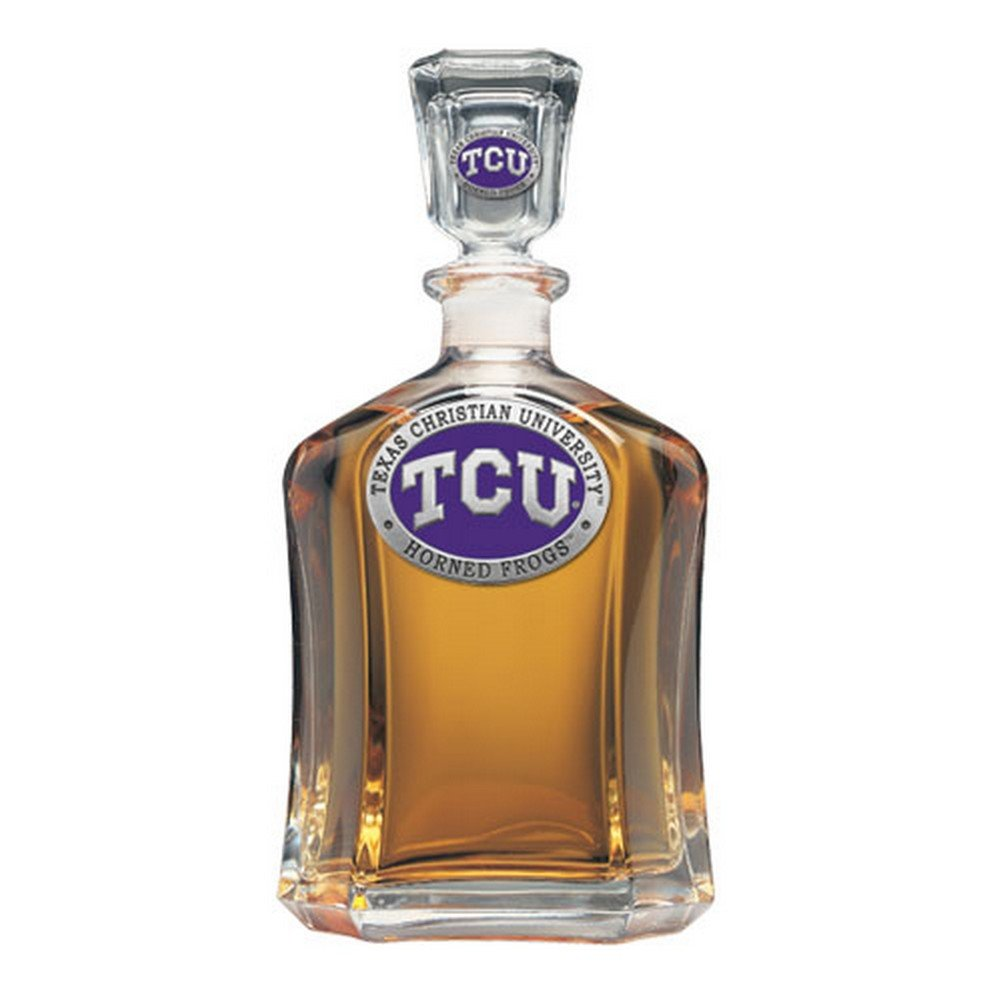 Team Color Logo TCU Texas Christian Decanter Glass Bottle by Heritage Pewter