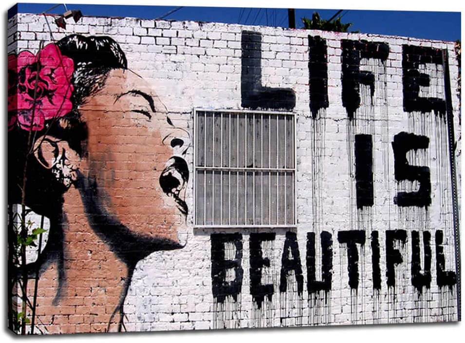 Canvas Wall Art Decor- Graffiti Wall Art for Living Room- Life is Beautiful Wall Art- Stretched Canvas Prints Picture Modern Artwork for Bedroom Home Wall Decoration