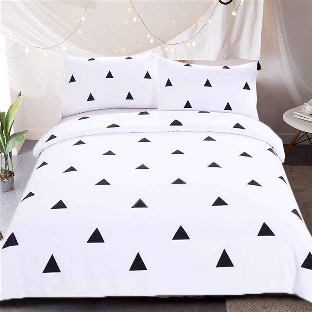 3D Bedding Set Printed,Abstract Minimalist Triangle Geometric Art,Printed Duvet Cover Set Cute Decorative 3 Pieces Teens Girls Boys Comforter Cover Pattern Quilt Cover Bedroom Decor,Us Twin 173Cm