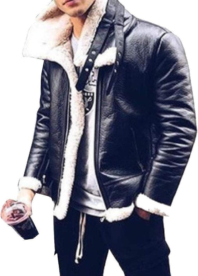 YONGM Mens Fashion Warm Long Sleeve Faux Leather Fur Lining Jacket Coat