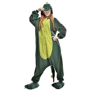 LSERVER-Pijama de Mujeres y Hombres Cosplay conjunto Diseño de Dibujos Animados Verde dinosaurio S