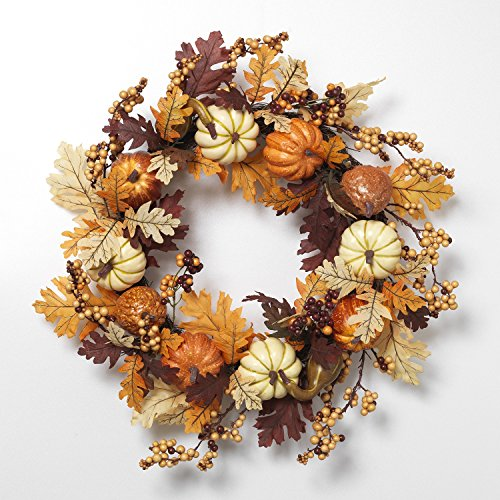 "24"" Harvest Pumpkin Fall Berries Wreath Branches Leaves Autumn Bounty Home Decor"