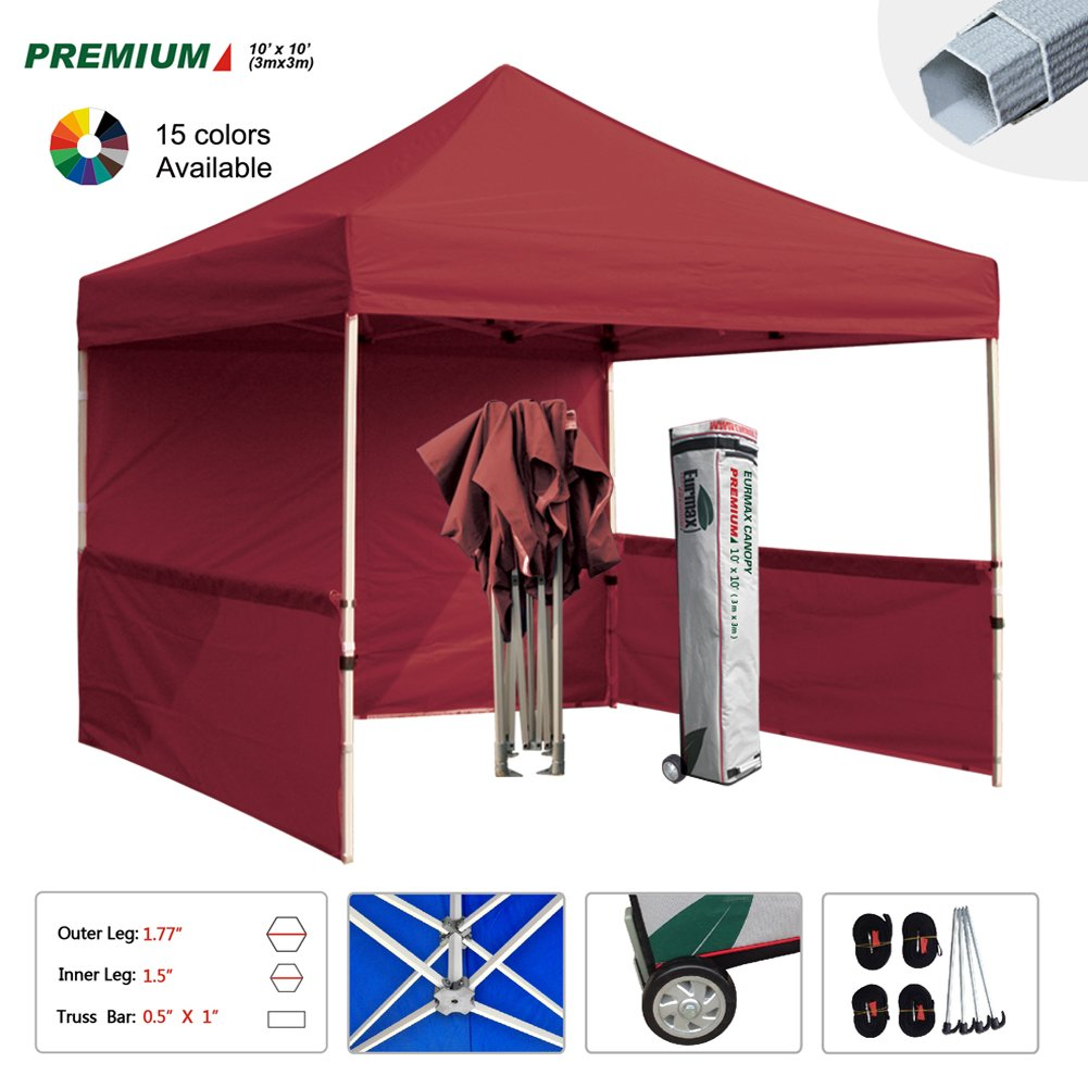 Eurmax Premium 10x10 Trade Show Tent Event Canopy Market Stall Canopy Booth Outdoor Canopy Bonus: Four (4) Weight Bags + Roller Bag (Burgundy)