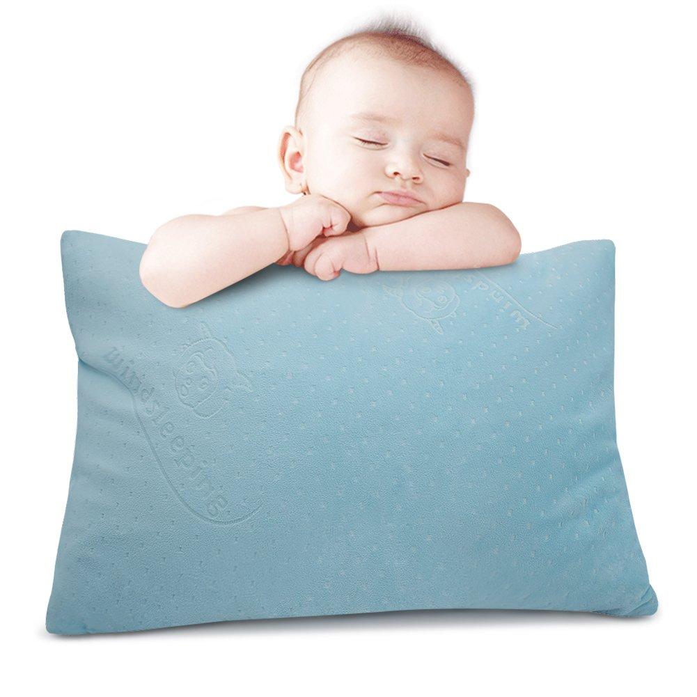 Windsleeping Latex Kids Toddler Pillow,13 x 18 inch, Pure Natural Latex,Soft Unisex Small Sleep Head Pillow, Comfort Little Sleepy Rest Pillow for Child Age 2+ (Sky Blue)