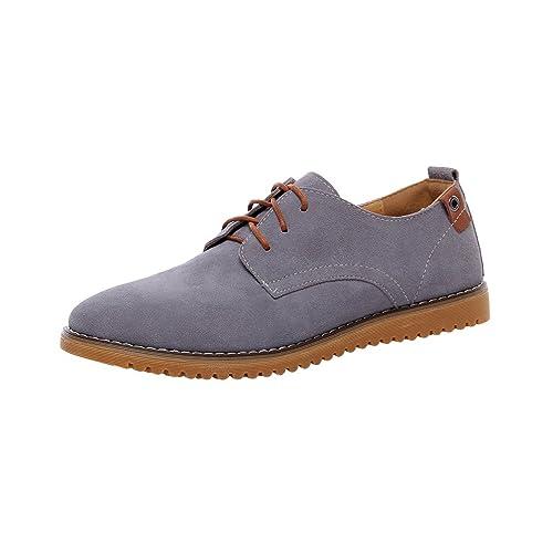 YiJee Hombres Clásico Piso Zapatos Ocio Cordones Zapatillas Talla Extra: Amazon.es: Zapatos y complementos