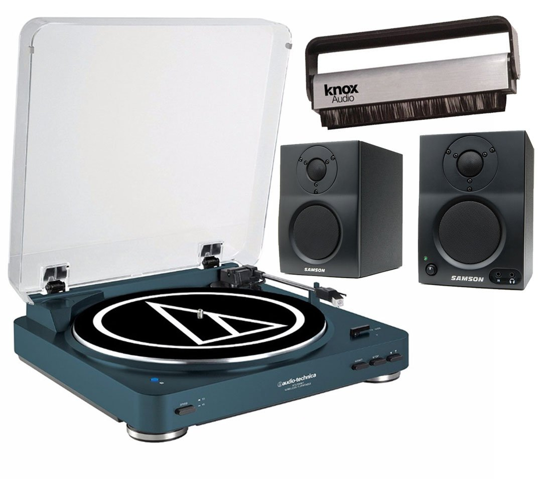 Audio Technica AT-LP60NV-BT Automatic Bluetooth Turntable (Navy) w/ Samson BT3 Monitors & Knox Carbon Fiber Brush by Audio-Technica