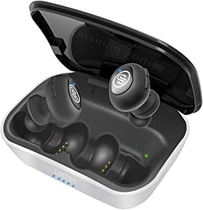 iQute True Wireless Earbuds, Bluetooth 5.0 Running Headphones, 3D Stereo Pro Sound, Extra Bass, Auto Pairing, 72H Play Time with Charging Case, Siri, Built-in Mic iPhone Wireless Headphones