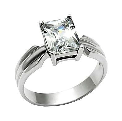 Amazon.com: 3 CT anillo de compromiso radiante Designer ...