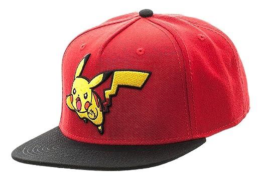 25b4ff95cd7 Amazon.com  Bioworld Pokemon Pikachu Color Block Snapback Hat Red ...