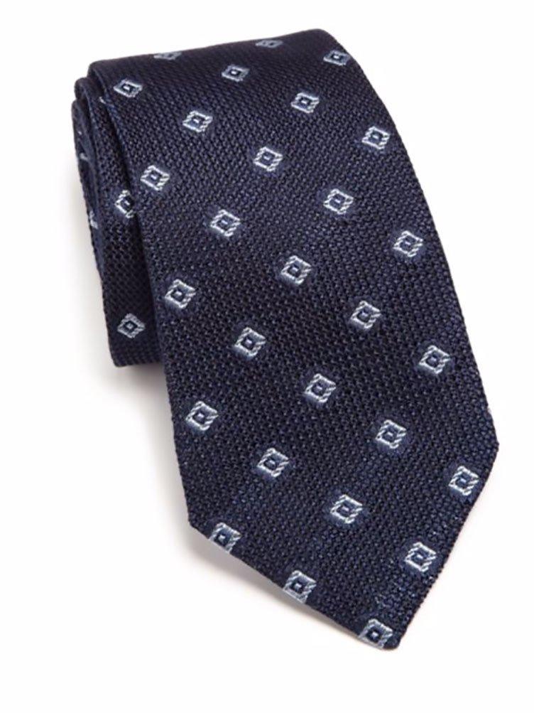 Ike Behar Men's Grenadine Italian Silk Tie, OS, Navy