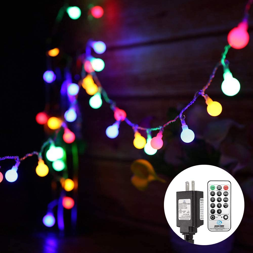 Fairy String Lights Plug in, 33 FT 100 LED Globe Ball String Lights 8 Lighting Modes with Remote Control for Bedroom Indoor Outdoor Garden, Patio, Christmas, Party, Wedding Decorations Multi Colored