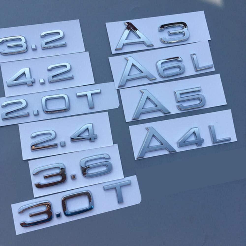 quattr0 68 Noir Rouge N//R Embl/ème de num/éro de Lettre pour Audi 1.8T 2.0T 2.4 3.0T 3.2 3.6 4.2 A3 A4 A5 A6L A7 A8L Q3 Q5 Q7 Autocollant de Logo de Badge de Coffre de Voiture Noir Brillant