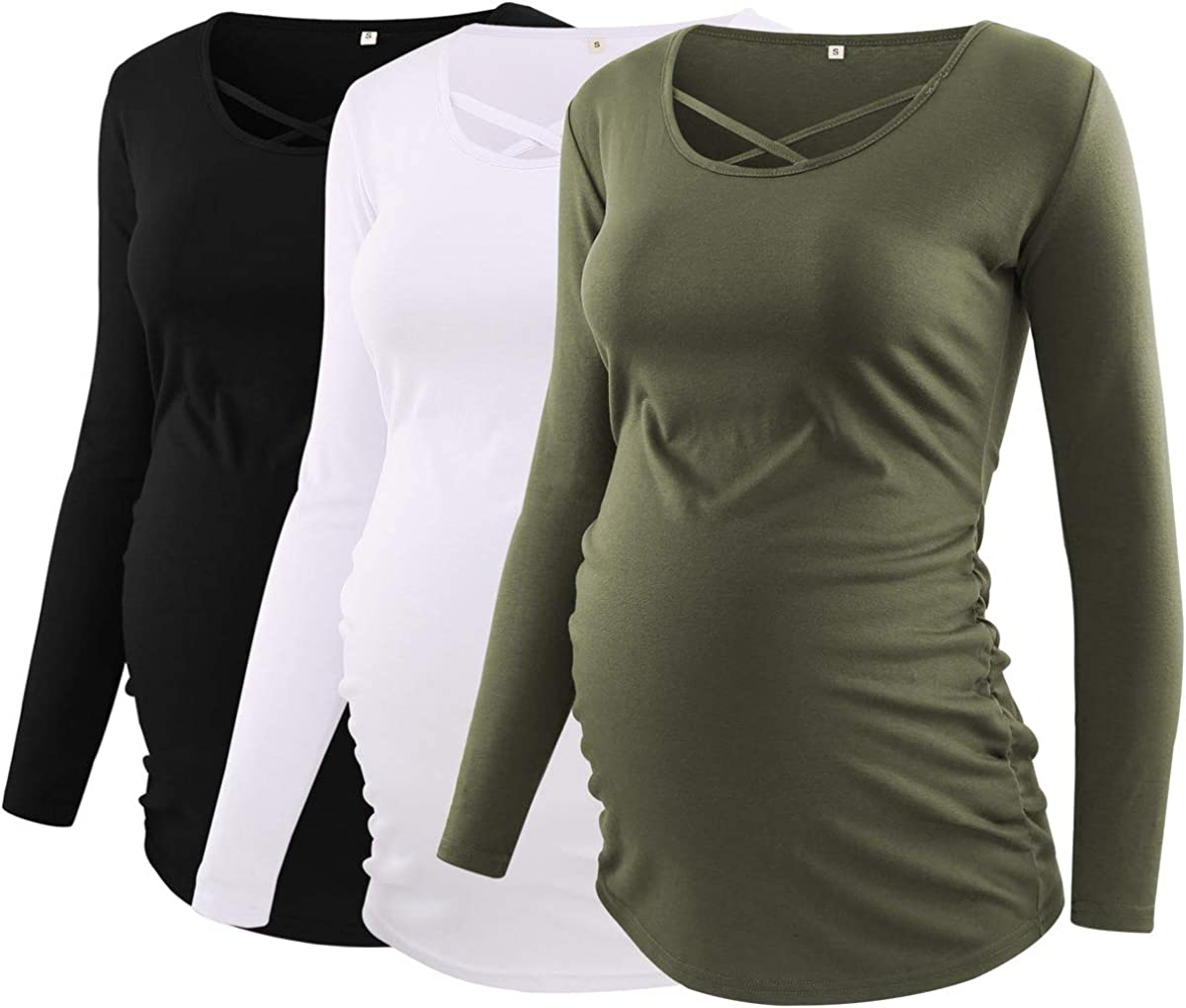 Love2Mi Womens Maternity Tops Long Sleeve Pregnancy T-Shirt Criss Cross Classic Side Ruched Mama Clothes 3 Pack