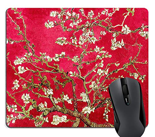 (Knseva Famous Painting of Almond Trees Flowers Blossoms by Vincent Van Gogh Mouse Pad - Red)