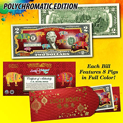2019 CNY Lunar Chinese New YEAR OF THE PIG Polychromatic 8 Pigs $2 U.S. Bill RED (New Bill Year Dollar Chinese Two)