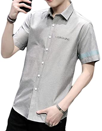 7f52dbea4a6 YYG Men England Floral Short Sleeve Formal Slim Fit Summer Blouse Shirt  Grey M