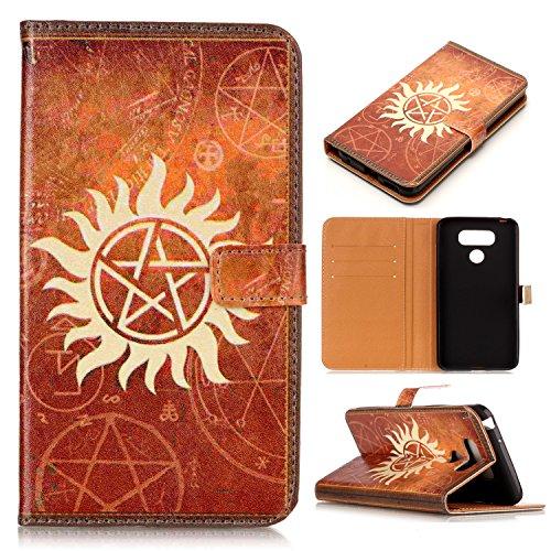 Wallet Pentagram (LG G6 Case, LG G6 Wallet Case - Supernatural Pentagram Pattern Slim Wallet Card Flip Stand PU Leather Pouch Case Cover For LG G6 (2017) New Arrival - Cool as Great Gift)