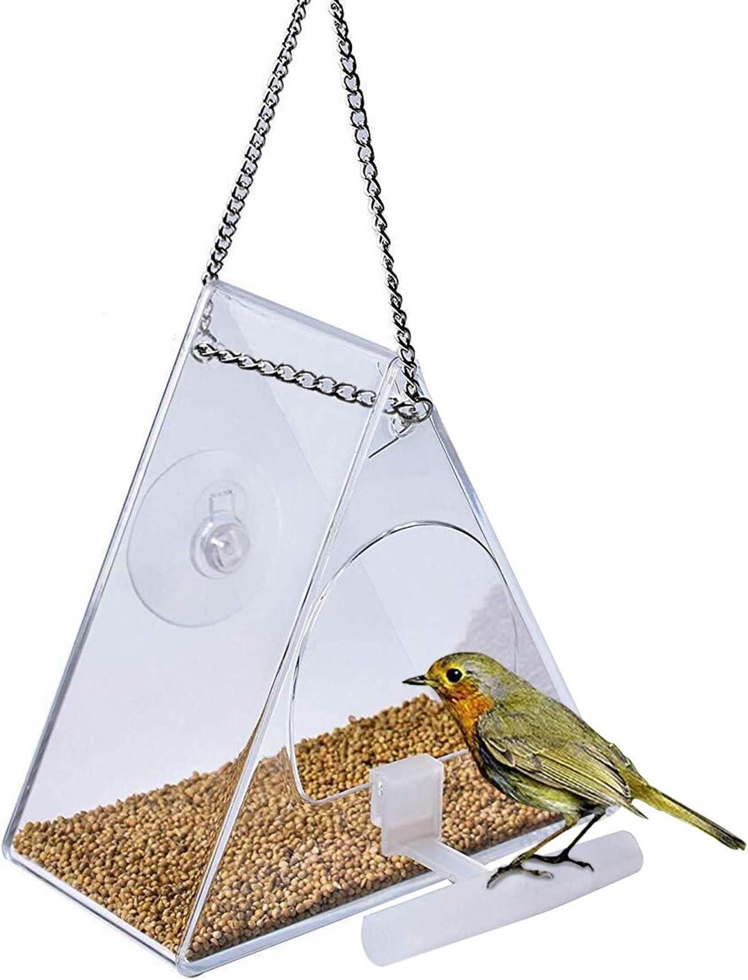 Comedero para Pájaros Comedero Agapornis Aves Silvestres Comedero Grande para Pájaros con Ventosas Acrílico Transparente para Pájaros Colgante Cojzlx Pajarera de Jardín Alimentador de Contenedor