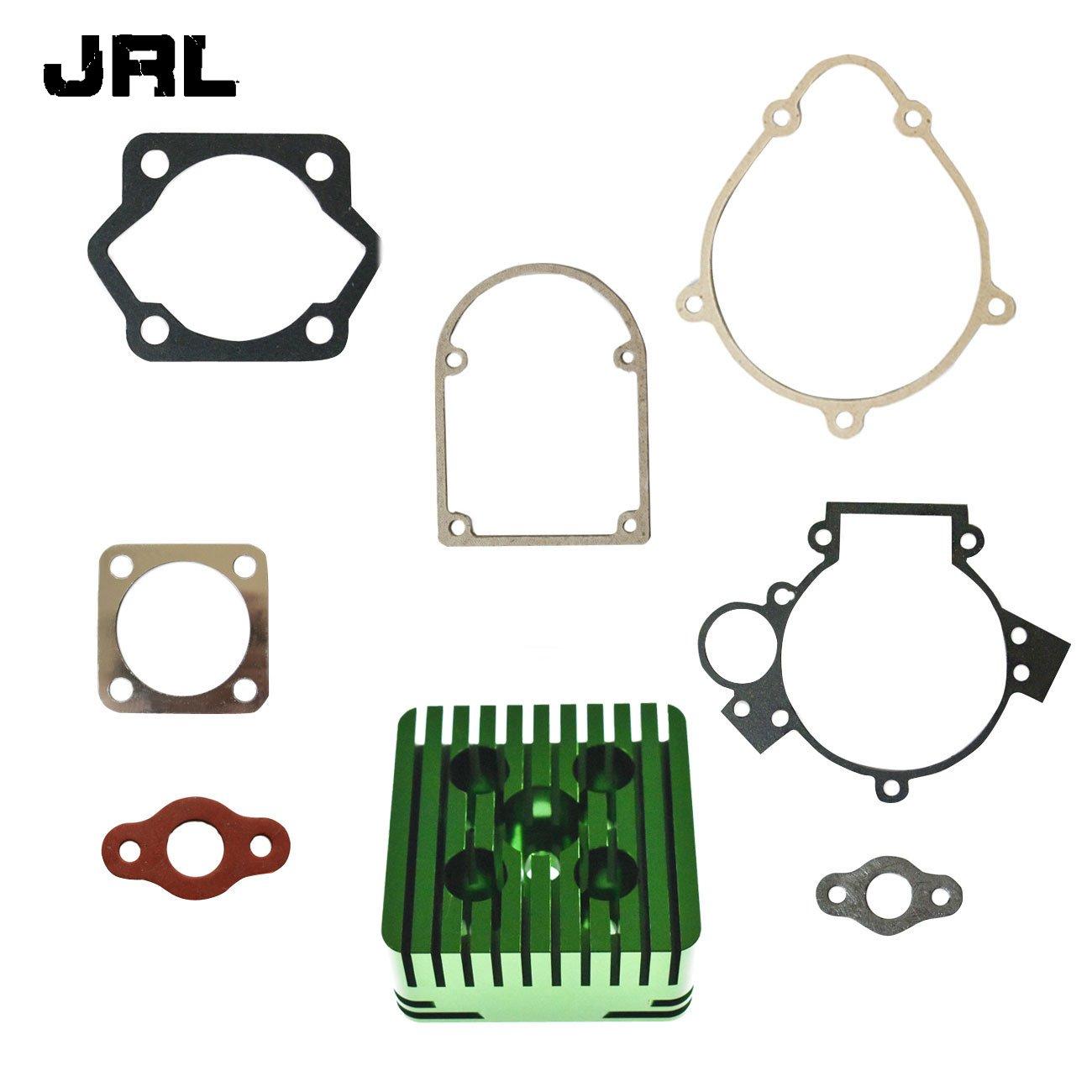 JRL CNC Silver Cylinder Head&Gasket Set Fit 80cc Motorized Bicycle Bike Motor Engine Nantong Power