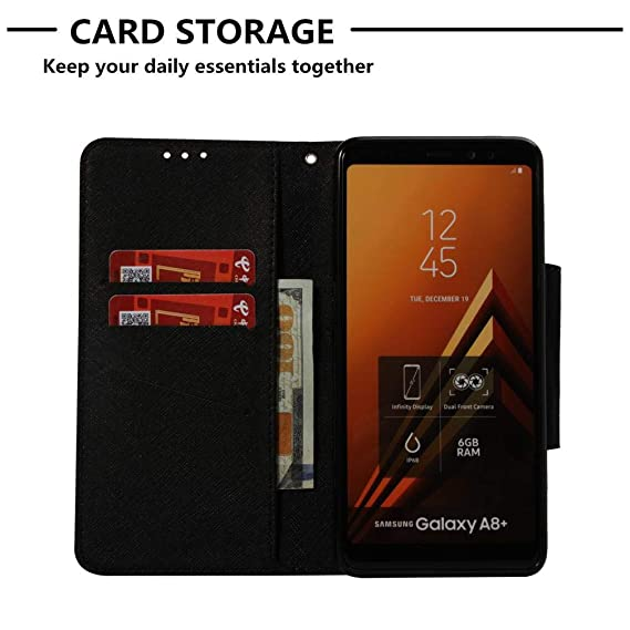 Galaxy A8 Plus 2018 Case,Durable Slim Flip Stand Case 3D Printing PU Leather Magnetic Closure Full Protective Inner Soft TPU Case Anti Sliding Card ...